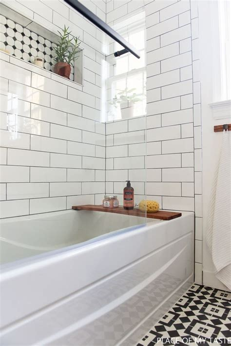 Bathrooms With Subway Tile Ideas makeover of the guest bathroom in a cool style