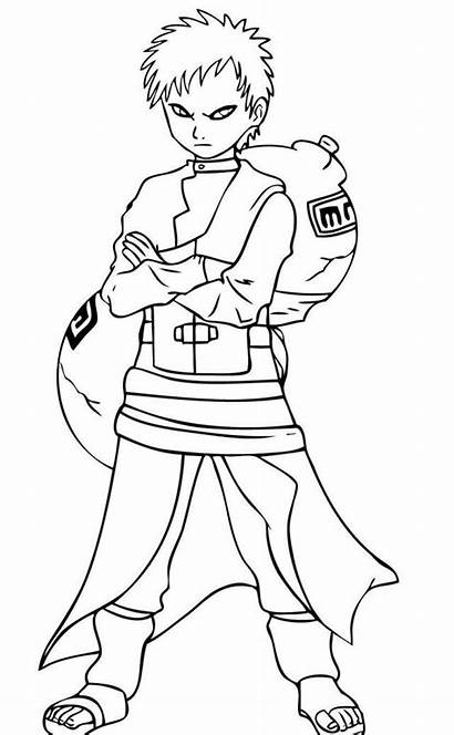 Naruto Gaara Coloring Pages Draw Step Easy