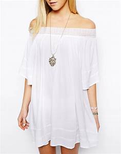 Asos Swing Dress with Off Shoulder in Cheesecloth in White ...