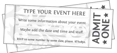 free printable ticket template free printable event ticket templates free printables