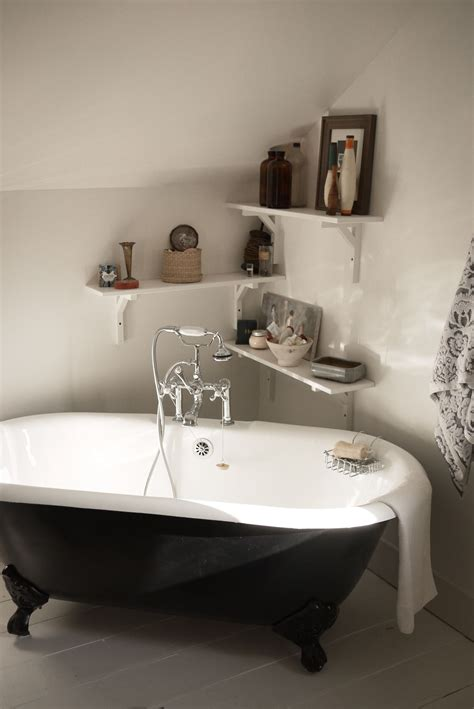 Claw Foot Tub And Shelves In A Corner Home Inspiration