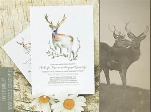 deer wedding invitation romantic watercolors need With wedding invitation template deer