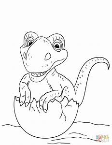 Dinosaur Hatching From Egg Coloring Page Free Printable