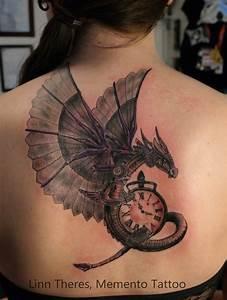 Grey Ink Steampunk Tattoo On Left Shoulder