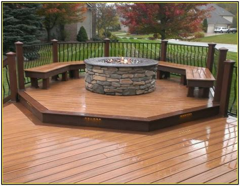Fire Pit In Wood Deck  Fire Pit Grill Ideas