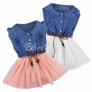 Toddler Kids Girl Lace Skirts Denim Top Short Sleeve Tutu ...