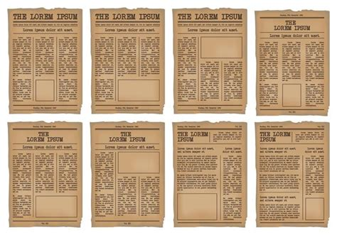 Classic Newspaper Template by Newspaper Template Vector Set Free Vector