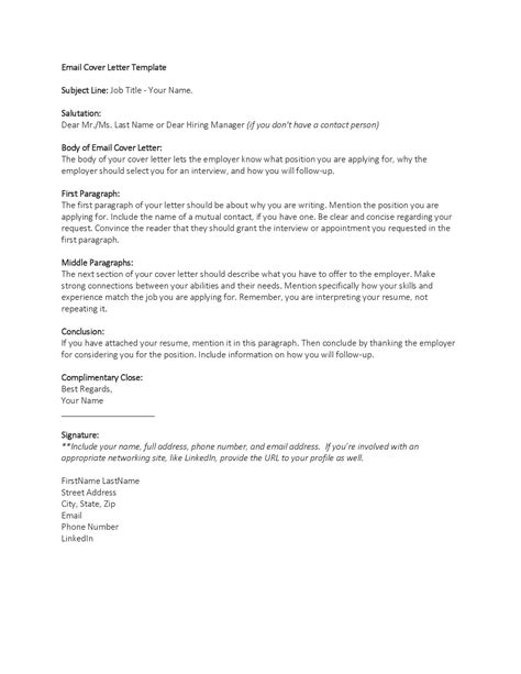 Email Cover Letter Template by Application Letter Sle Cover Letter Template Email