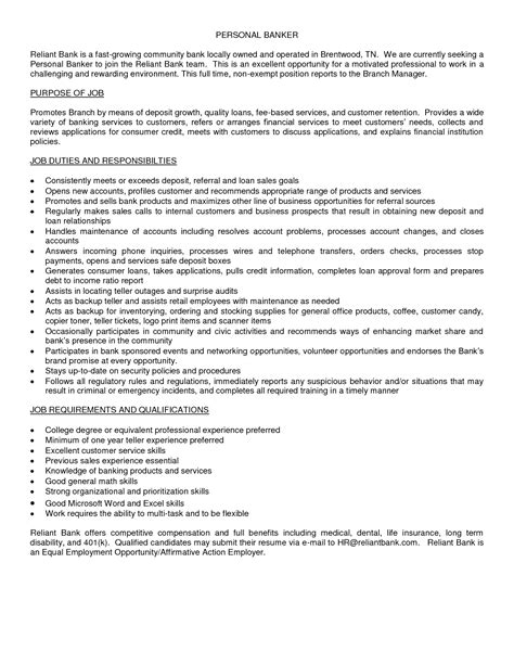 Personal Banker Resume Description resume personal banker resume description