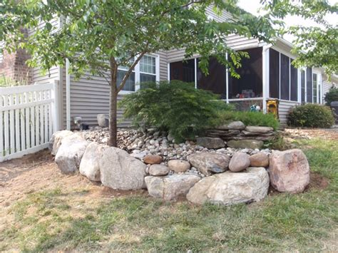 yardley pa stone boulder retaining wall residential property