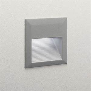 Tecla led square exterior recessed wall light in painted