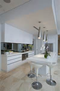 White Kitchen with Travertine
