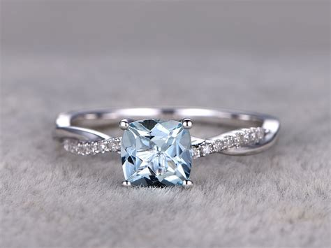 18k engagement ring white gold aquamarine engagement rings with diamonds