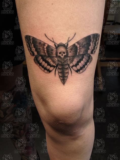 moth  skull leg tattoo tattoomagz tattoo designs