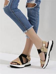 Buy My Foot Couture Golden Holographic Sports Sandals For