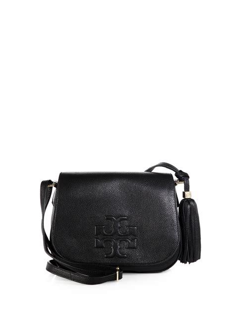 tory burch thea leather fringe crossbody bag  black lyst