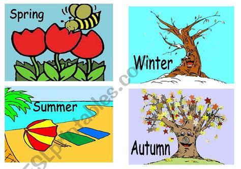 Seasons Flashcards  Esl Worksheet By Creguen