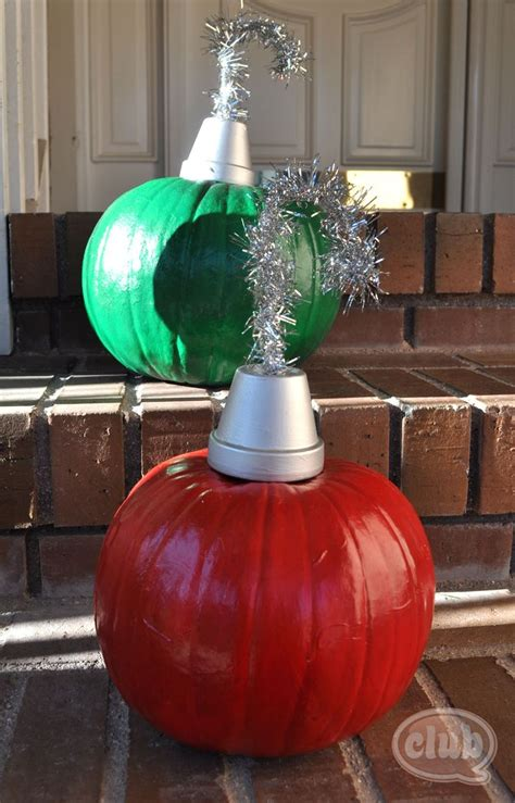 pumpkins decorated for christmas paint your pumpkins and use a mini silver painted flower pot and silver wire tinsel