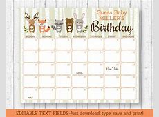 Woodland Animal Baby Shower Due Date Calendar Woodland