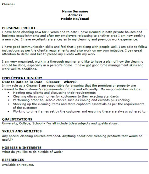 cleaner cv  icoverorguk