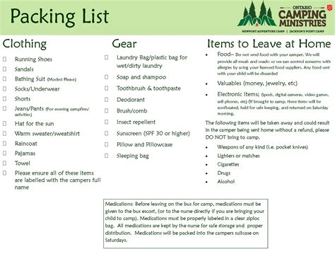 Packing For Camp Ontario Camping Ministries