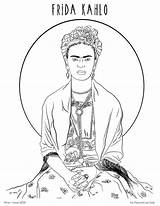 Kahlo Coloring Frida Printable Hazel Fox Self Portrait Draw Portraits sketch template