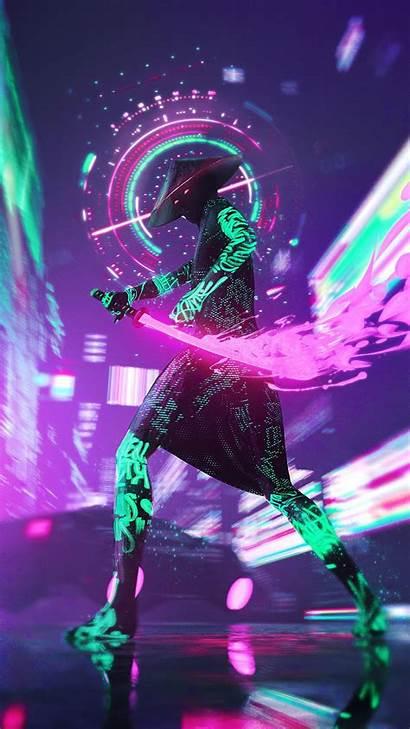 Cyberpunk Neon Iphone Ninja Android Wallpapers Samurai