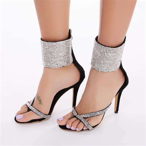 wholesale garden vogue rhinestone stiletto high heels sandals
