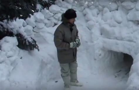 in a survival situation an extreme winter snow fort can
