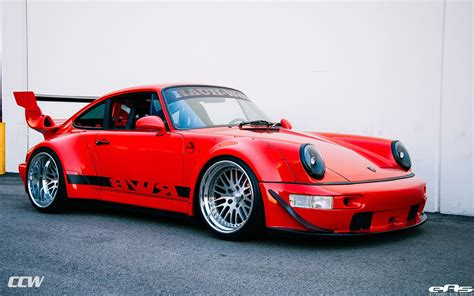 red rwb porsche  turbo ccw classic wheels