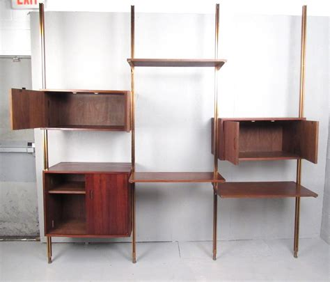 mid century wall unit mid century modern teak omnia modular wall unit by george nelson for sale at 1stdibs