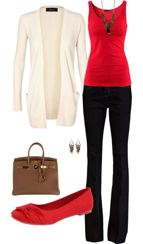 U0026quot;fallu0026quot; business casual outfit. Red tanktop black pants ivory cardigan brown bag red flats ...