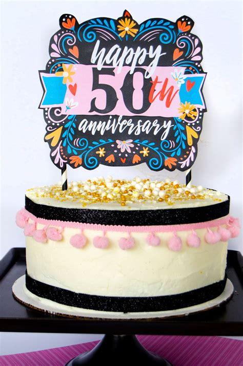 anniversary cake topper printable  lindi haws