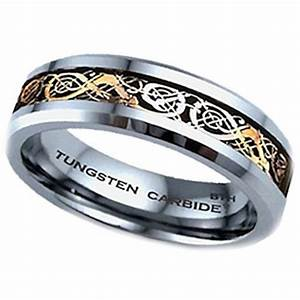 Gold celtic dragon tungsten carbide wedding engagement for Tungsten celtic wedding ring