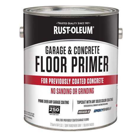 garage floor paint primer rust oleum 2 qt garage and concrete interior floor primer 306196 the home depot