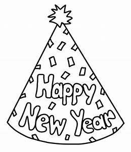 New Year Party Hat Black And White Clipart - Clipart Suggest