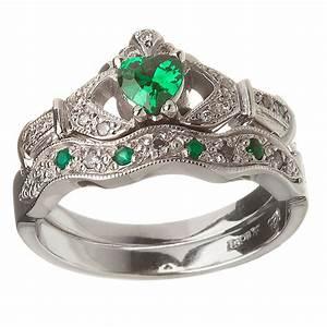 14k white gold emerald set heart claddagh ring wedding With claddagh wedding ring sets