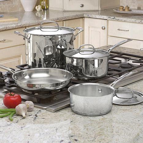 cuisinart chefs classic  piece stainless steel cookware set  hsn