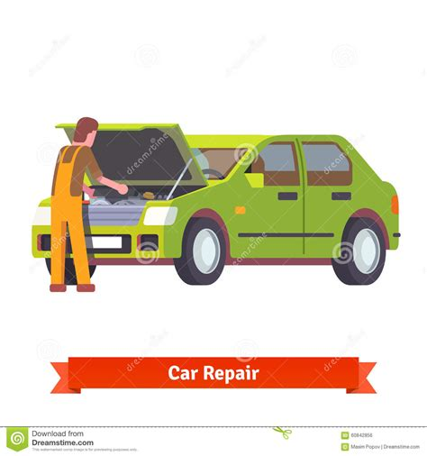 car engine service master mechanic check a car royalty free stock photography
