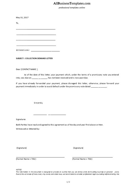 collection demand letter template templates