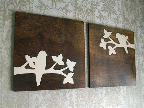 wood plank decor rustic bird wood wall decor art set 18x18 rustic by elwoodworks