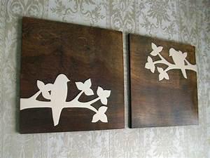 Rustic bird wood wall decor art set by