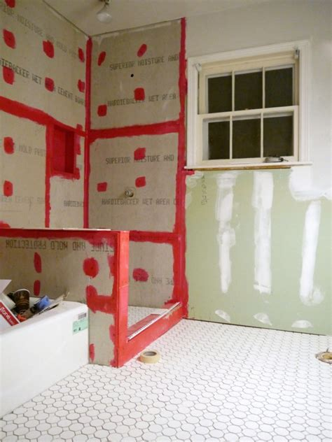 Laying Tile Redguard by Bathroom Remodel How To Tile Part 5 C R A F T