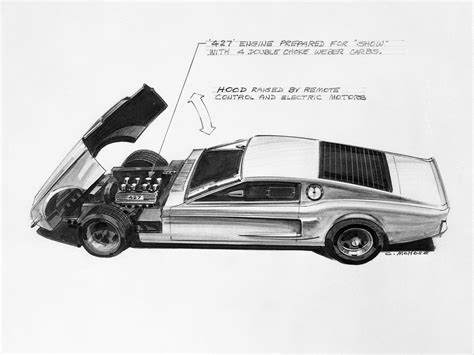 1966 Ford Mustang Mach 1 Concept Design Sketch Car