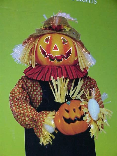 huge 3 ft pumpkin fiber optic halloween scarecrow indoor