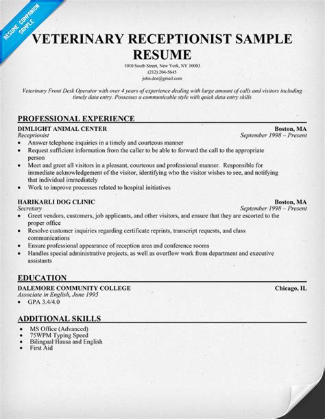 Exles Of Veterinarian Resumes by Veterinary Receptionist Resume Exle Http