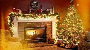 Christmas Fireplace Background ·①