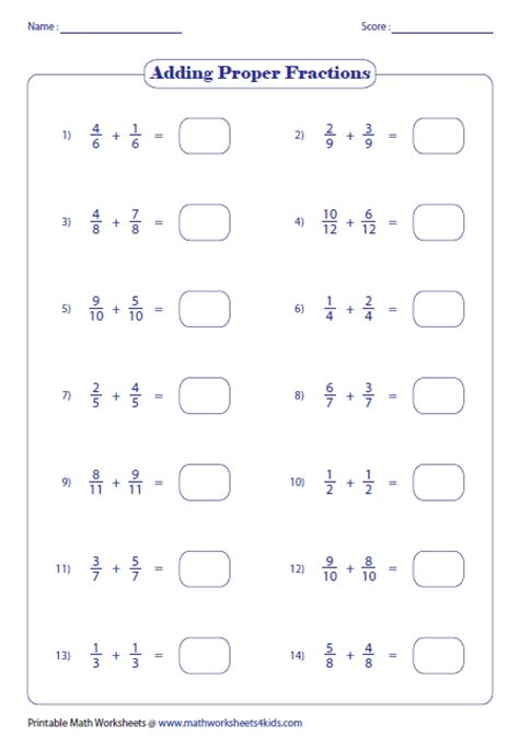 adding fractions with like denominators worksheets adding fractions worksheets