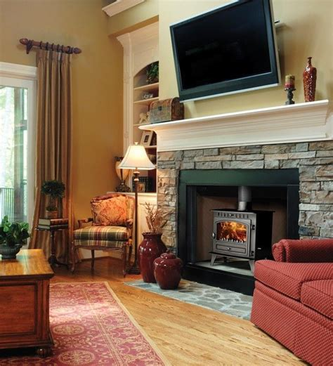 tv  wood burning fireplace   ideas  tv