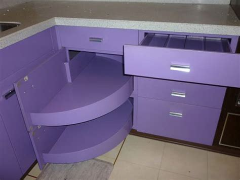 Purple and walnut 1970 St. Charles metal kitchen   Retro